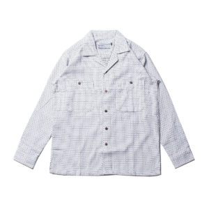 Blue Muscle Union – Shirts – The Camp Shirt – White Woven Sashiko (3)